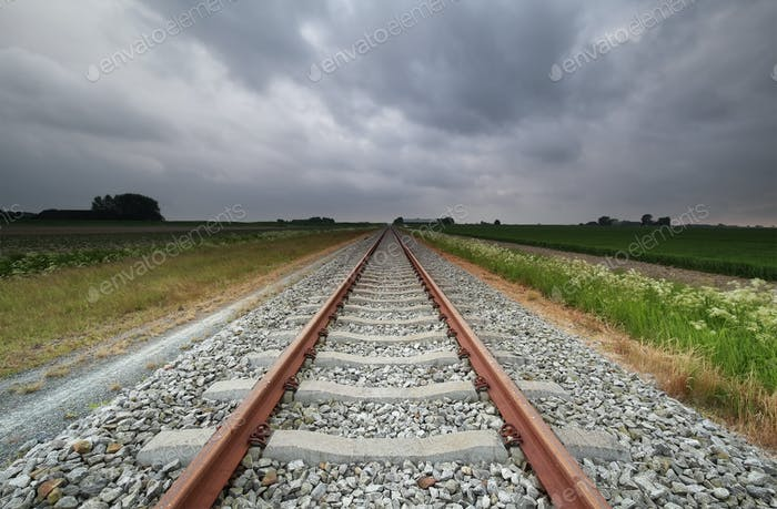 railway tracks in countryside