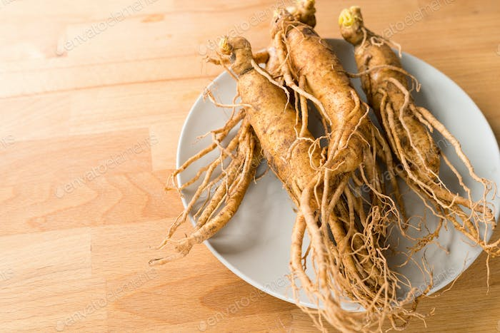 Fresh Ginseng on table