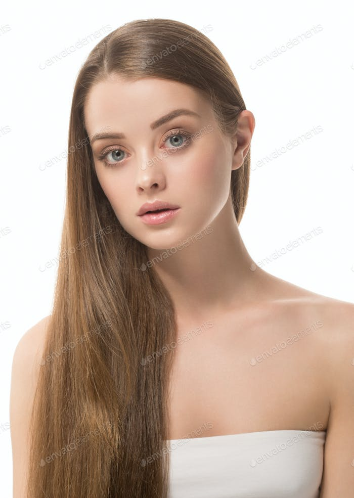 Adorable beauty girl face portrait. Beautiful spa model woman perfect healthy hair smooth.