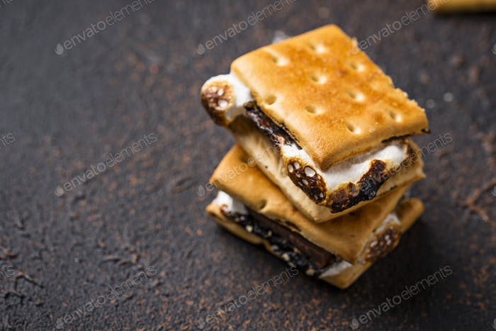 Homemade s'mores with crackers, marshmallows and chocolate