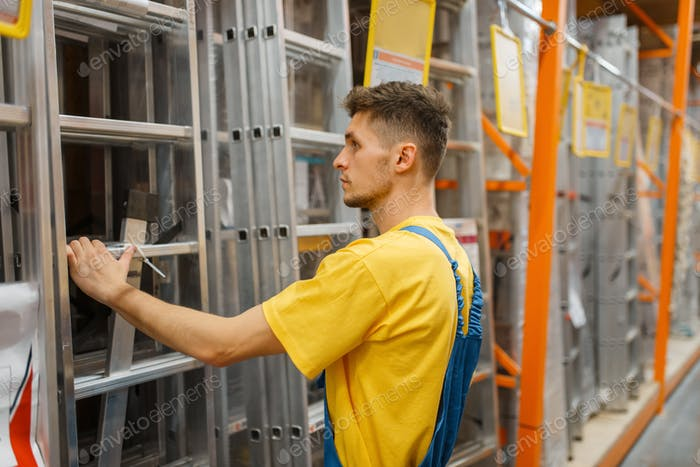Constructor choosing the stairs in hardware store