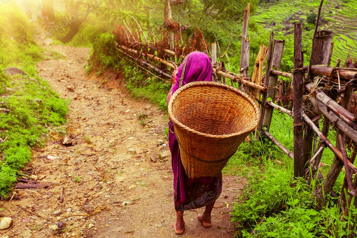 Nepalese woman with Wicker Basket