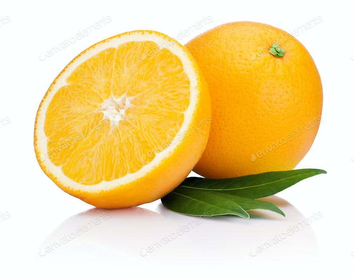 Fresh Orange fruit with half and leaves isolated on white backgr