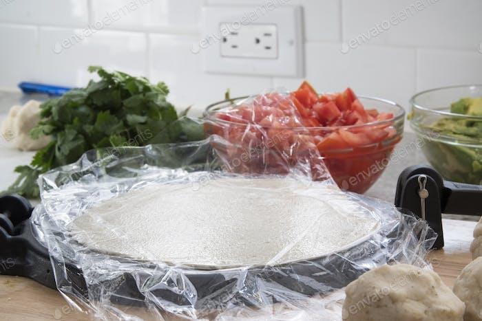 Tortilla auf Presse