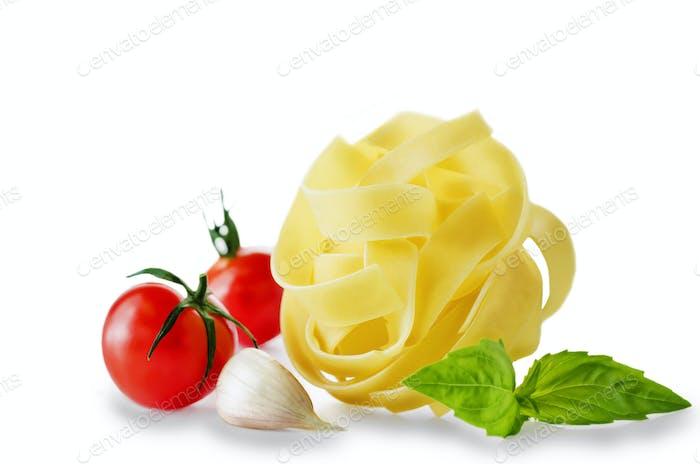 Traditional Italian Pasta Fettuccini with Garlic, Tomato and Bas
