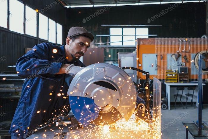 Craftsman working with circular saw