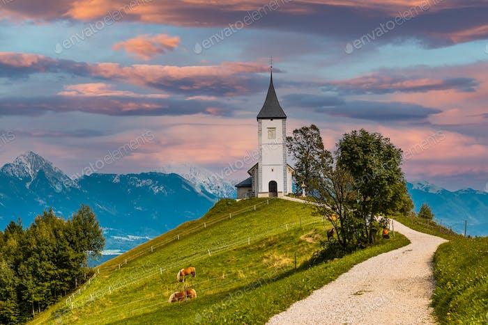 Picturesque  Church Of St Primoz in Jamnik,Kamnik, Slovenia at Autumn at Sunset