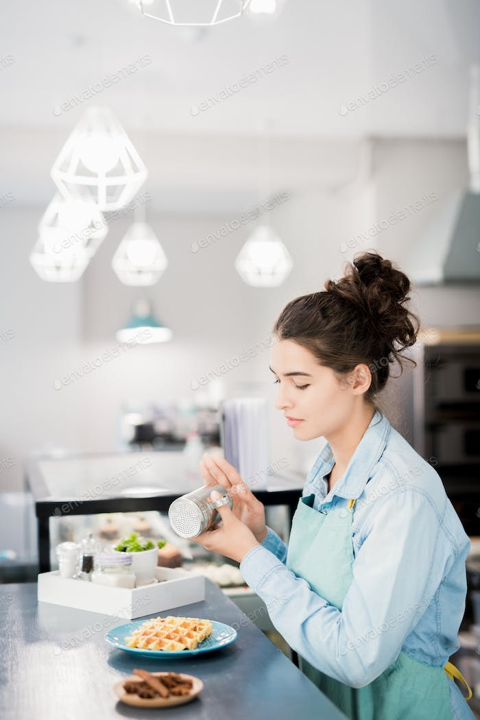 Waitress Preparing Order in Cafe