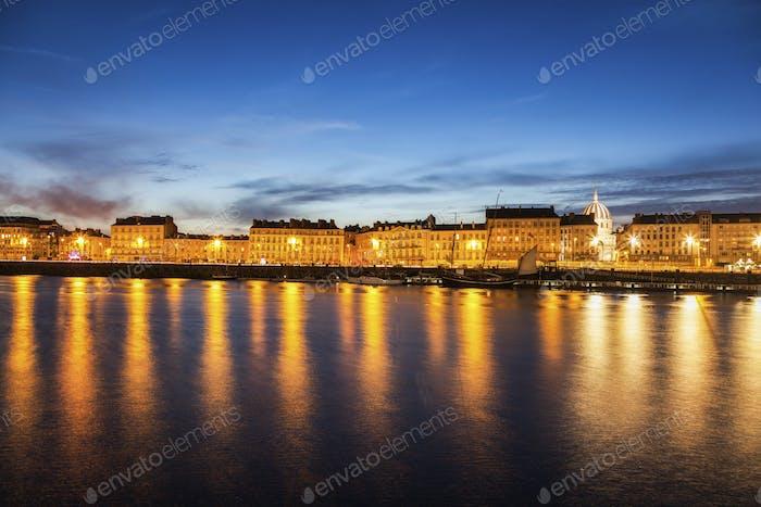 Nantes panorama across Loire River