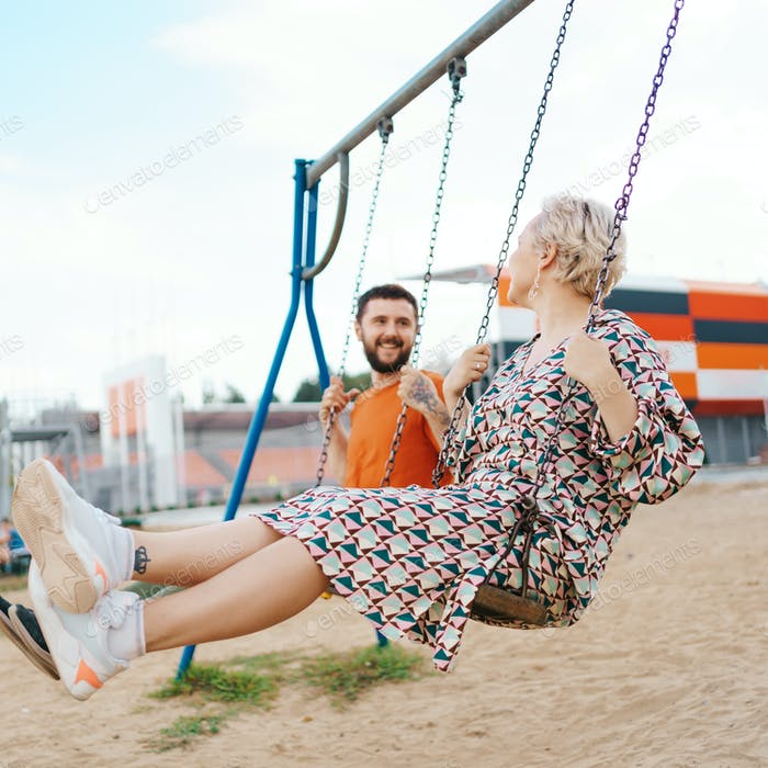Beautiful couple having fun outdoors