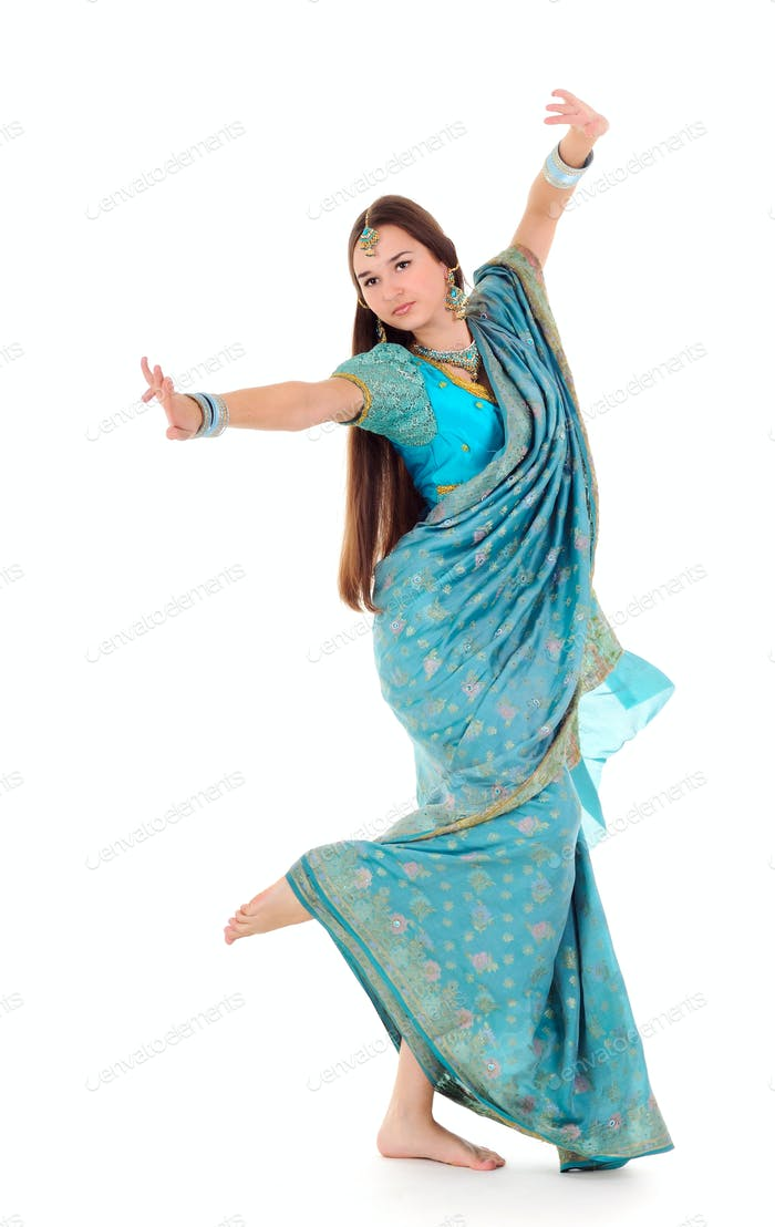 Young brunette girl showing dance movement
