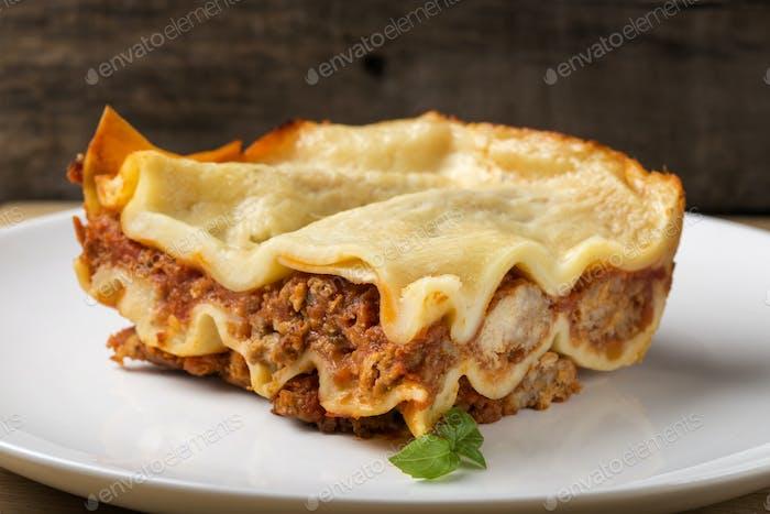 Homemade Italian lasagna bolognese