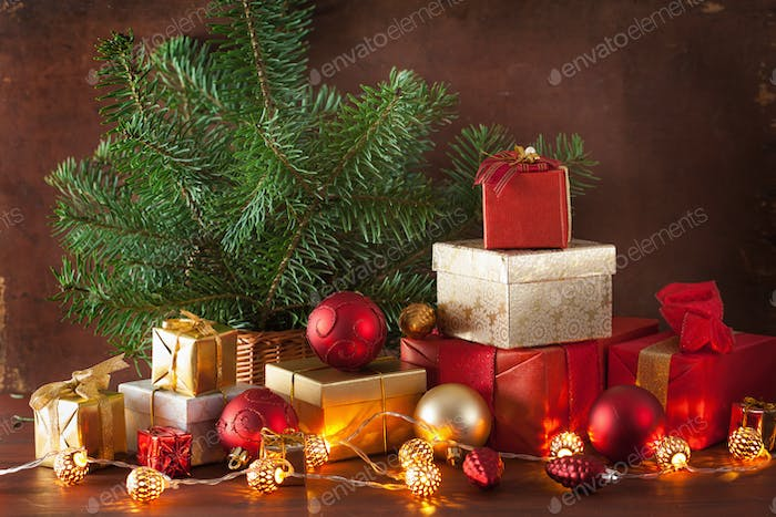 red and golden christmas gift box and decoration light