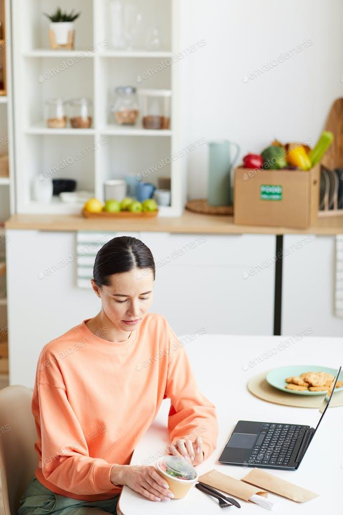 Woman ordering takeaway food