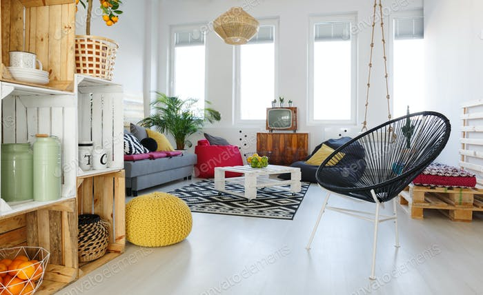 Living room with round chair