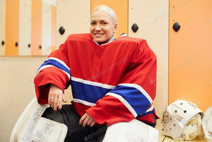 Smiling Female Hockey Player