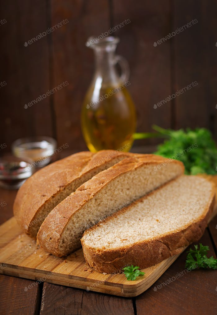 Homemade wholemeal bread sliced