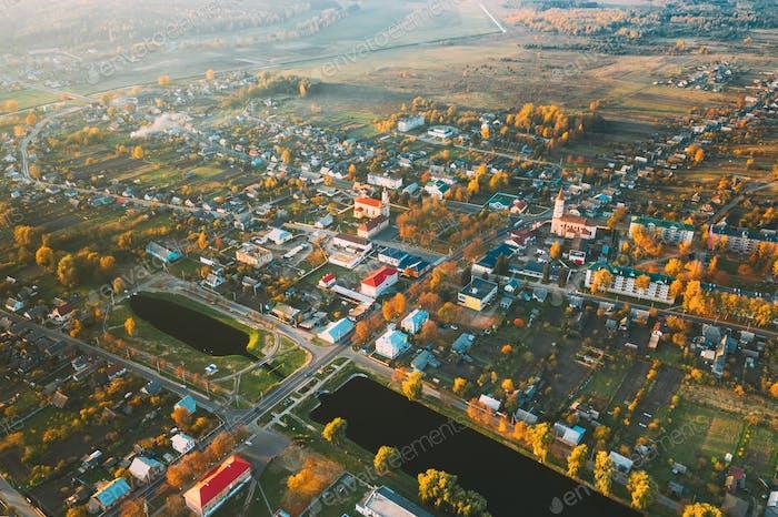 Ruschany, Region Brest, Weißrussland. Stadtbild Skyline Im Herbst Sonnigen Abend. Vogelperspektive von St