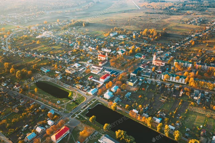 Ruzhany, Brest Region, Belarus. Cityscape Skyline In Autumn Sunny Evening. Bird's-eye View Of St