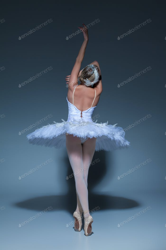 Portrait of the ballerina in ballet tatu on blue background