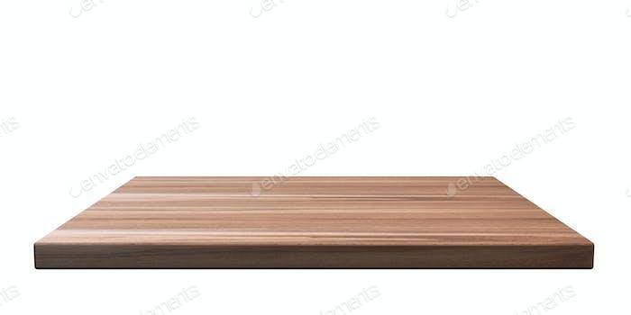 Leeres Holzregal isoliert Ausschnitt auf weißem Wandhintergrund. Perspektivische Ansicht. 3D Illustration