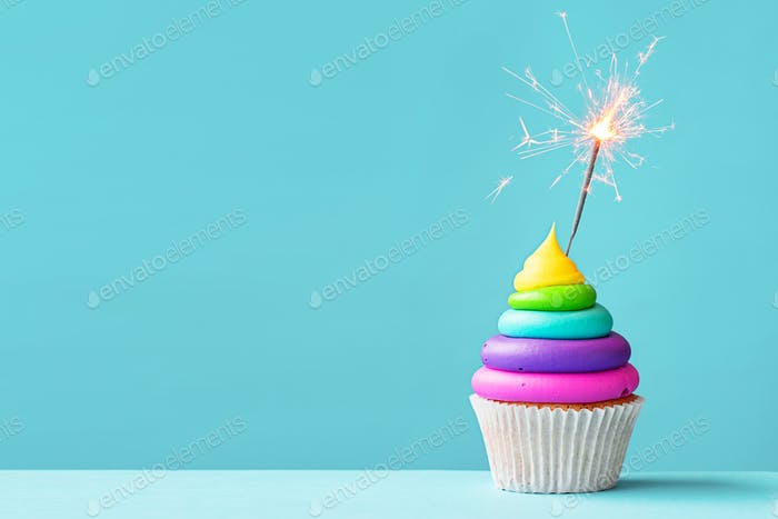 Colorful cupcake with sparkler