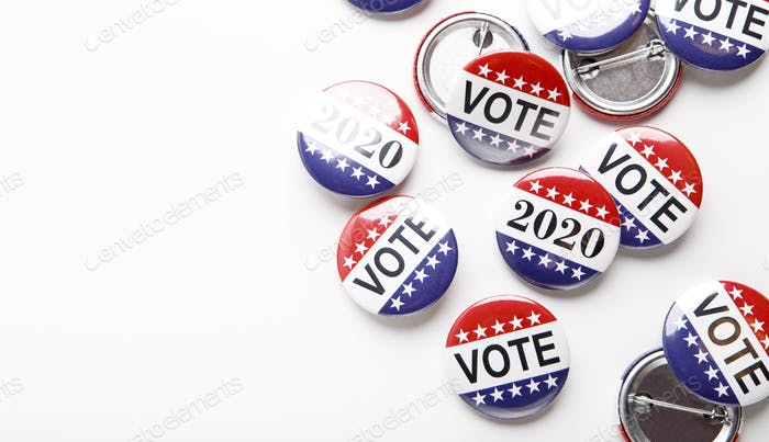 Presidential US election 2020, Red, white, and blue vote buttons