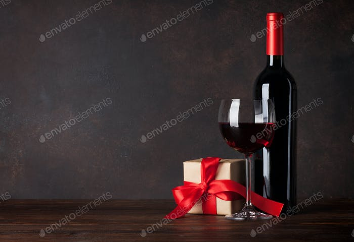 Valentines day greeting card with wine