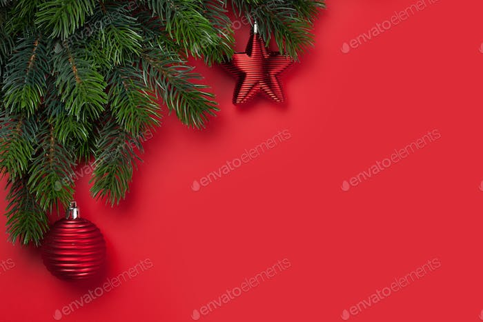 Christmas card with decor and fir tree branch