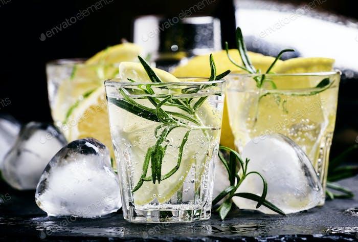 Refreshing lemon drink with rosemary