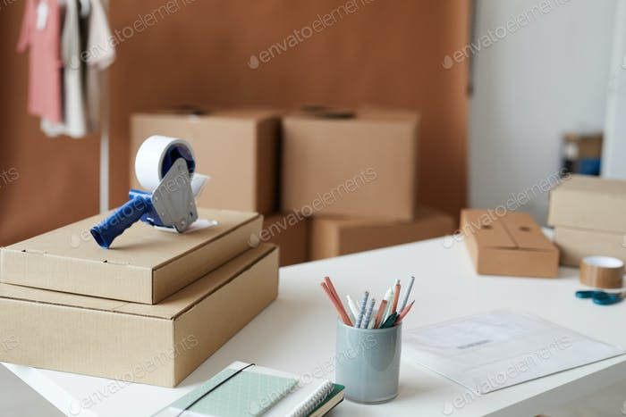 Packages on the table at office