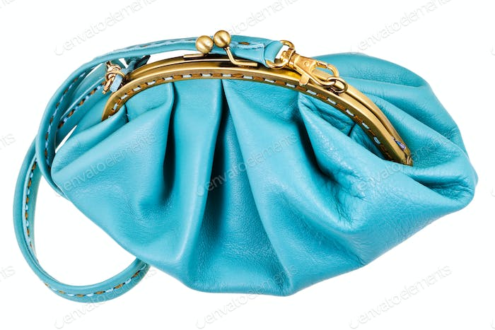 closed blue leather woman hanbag