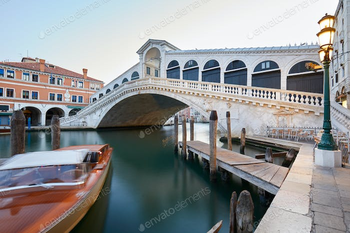 The Grand Canal and Rialto bridge in the early morning, Venice