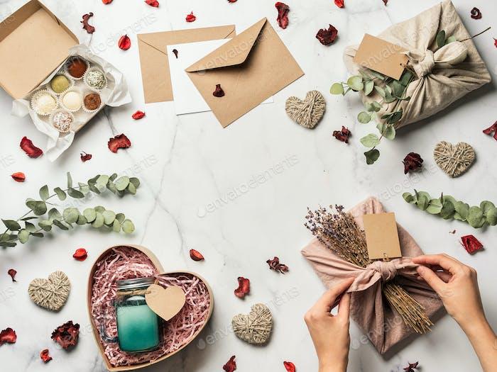 Zero Waste Valentinstag Konzept, Kopierraum