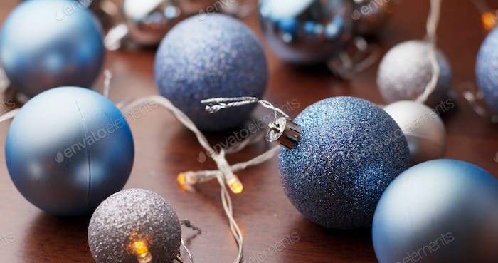 Christmas tree decoration ball in blue color
