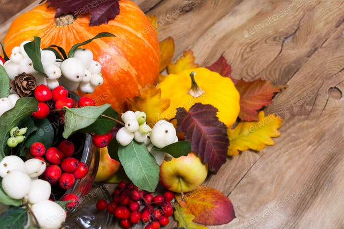 Thanksgiving background with snowberry, pumpkin, apples and yell