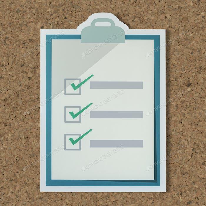 Cut out paper checklist icon
