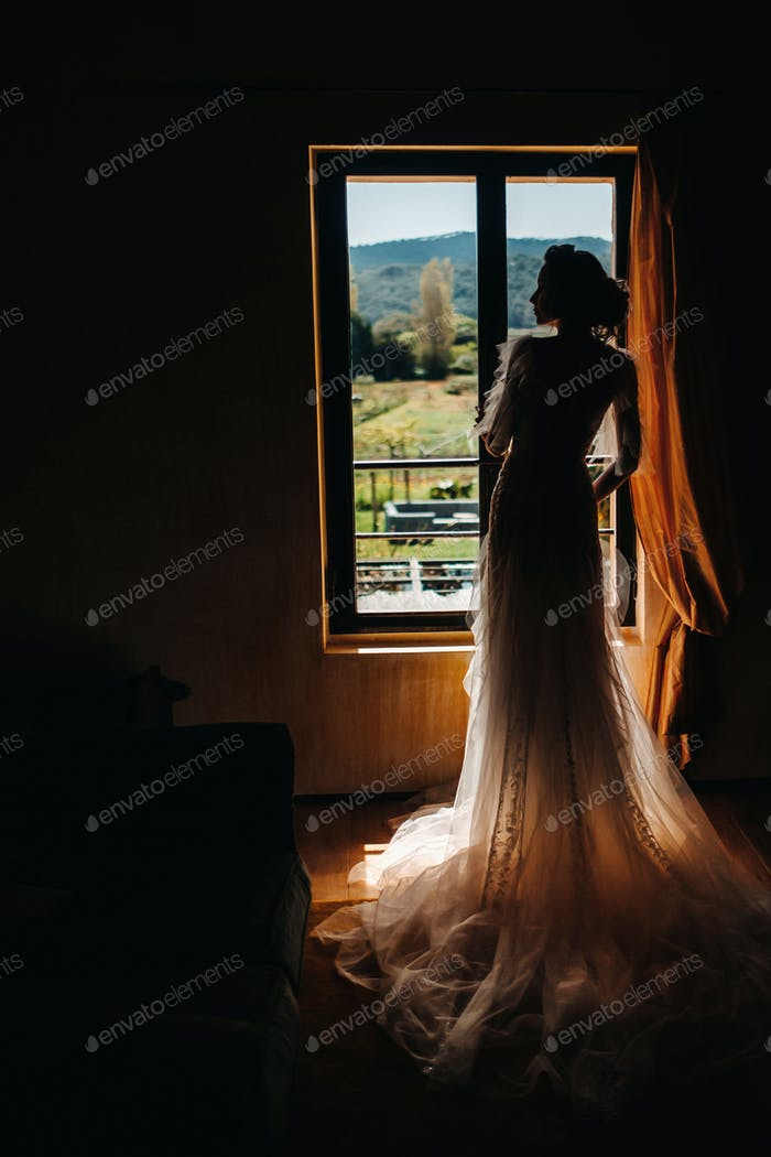 a beautiful bride with pleasant features in a wedding dress poses in the interior of the room