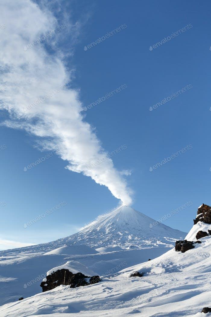 Active Volcano of Kamchatka: Eruption Volcano Klyuchevskaya Sopka