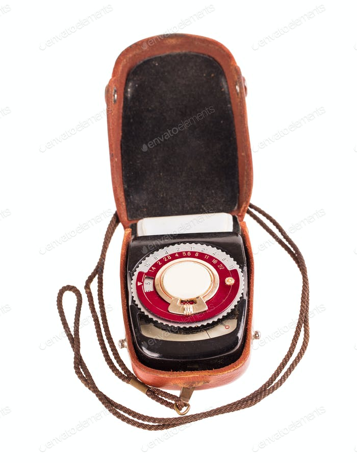 Old exposure meter in leather case.