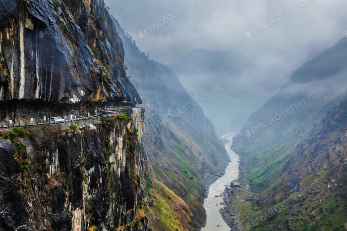 Car on road in Himalayas