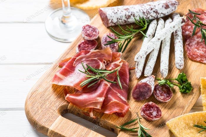 Antipasto - sliced meat, ham, salami, olives