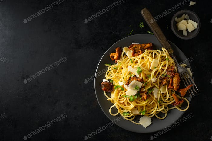 Pasta with mushrooms on plate