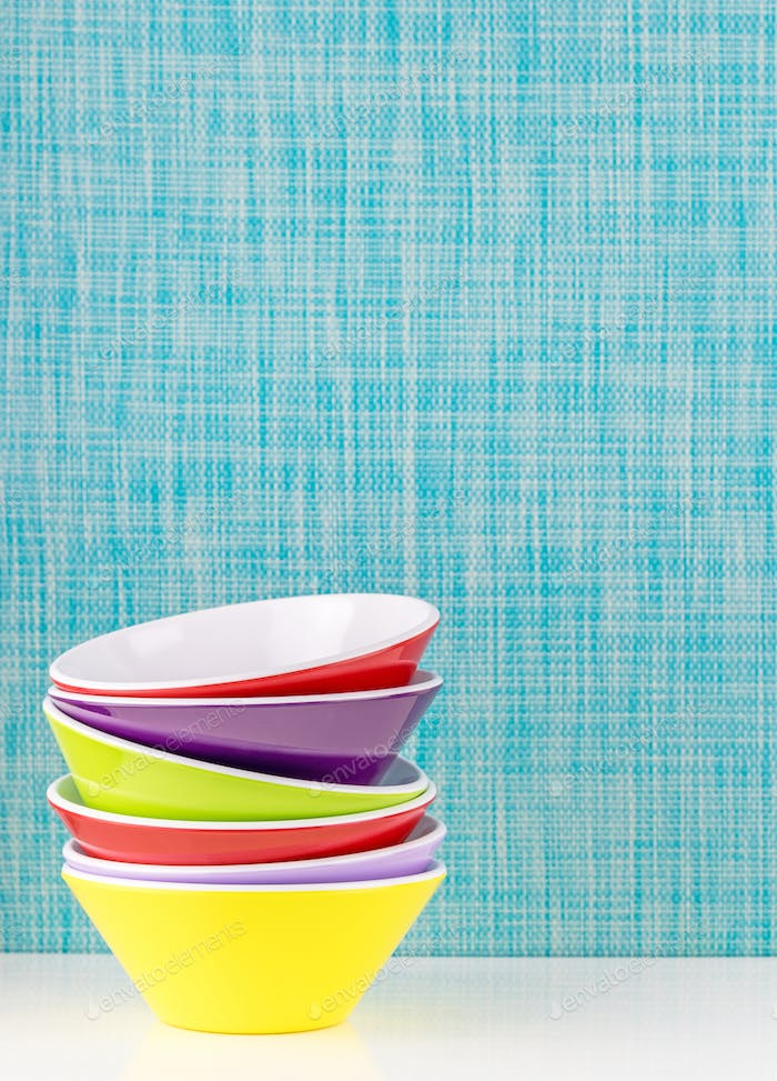 A Stack of Colorful Bowls