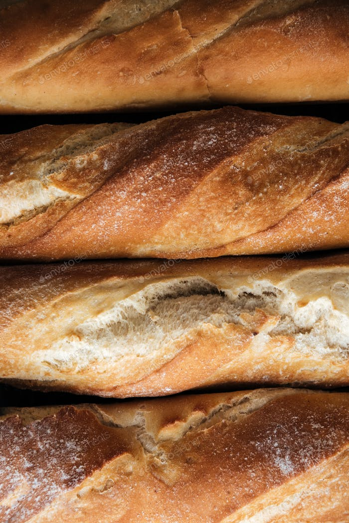 Bread loafs at bakery