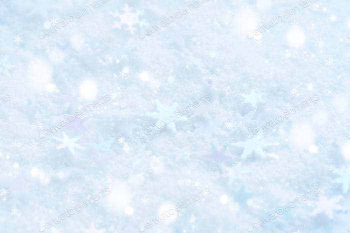 Christmas snowflakes of decoration on snow. Christmas festive ba