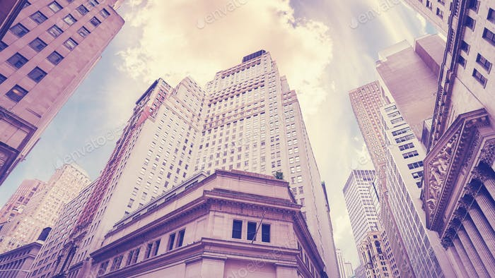 Vintage stylized Wall Street in New York City, USA