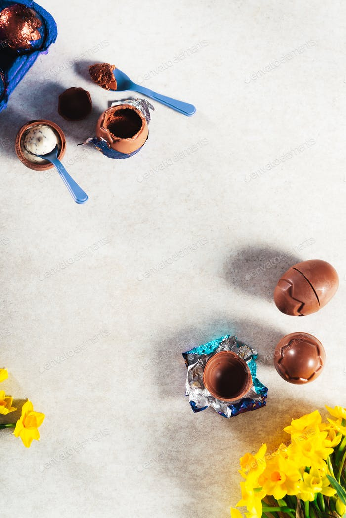 Easter composition from chocolate eggs