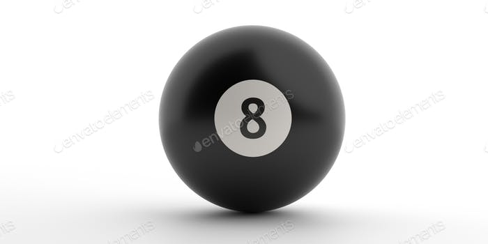 Billiard game ball Black 8  isolated against white background. 3d illustration