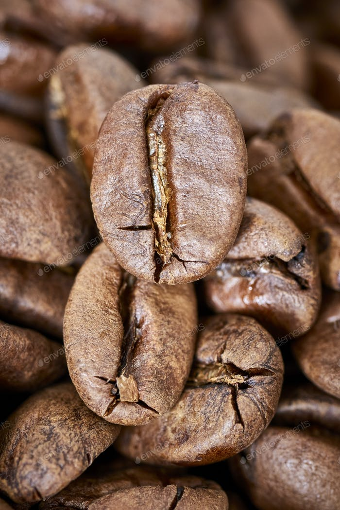 Close up picture of freshly roasted coffee beans.